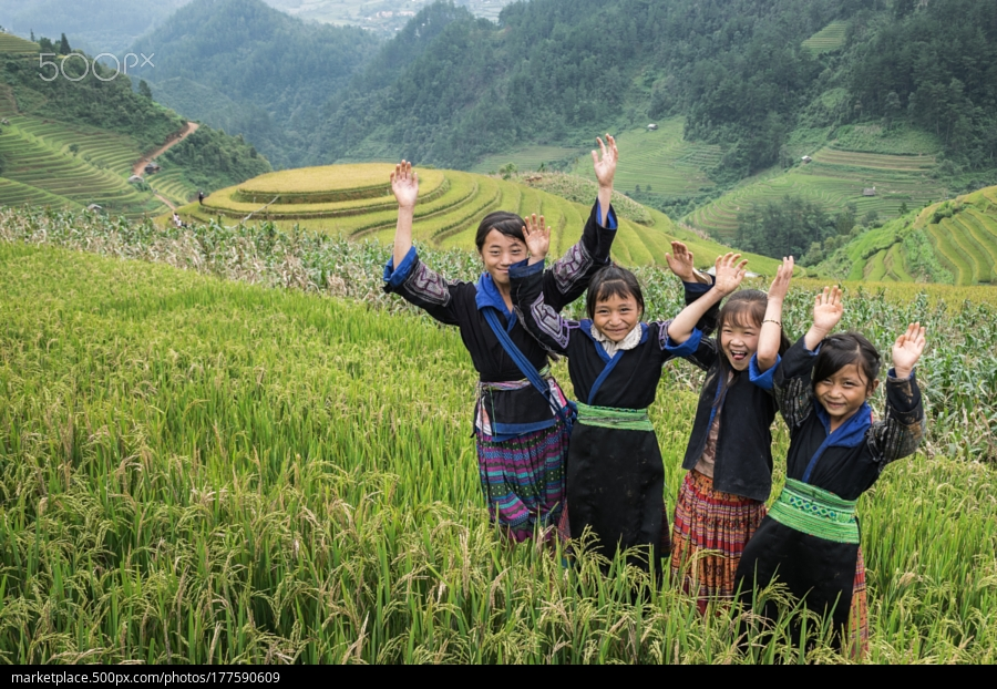 Beautiful and simply lifestyle of the Hmong people at Mu Chang Chai the small district near Sapa, Vietnam.
